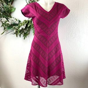 Andrew Marc New York Open Knit Crochet Fuchsia